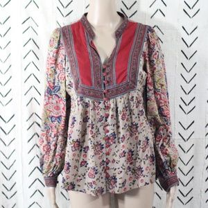 Lucky Brand Boho Peasant Tunic Top Floral Size XS